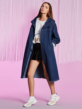 Ericdress Loose Mid-Length Hooded Denim Jacket