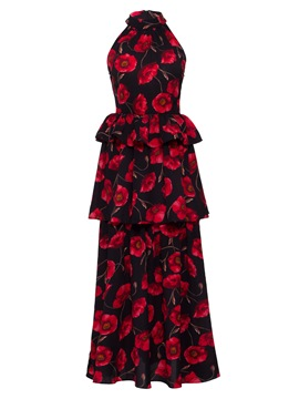 Ericdress Ruffles Floral Print Sleeveless Layered Dress