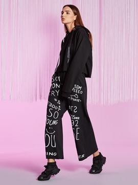 Letter Print Wide Legs Women's Pants