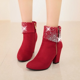 Ericdress Rhinestone Side Zipper Plain Chunky Heel Ankle Boots