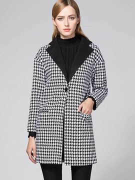 Ericdress Mid-Length Houndstooth One Button Coat