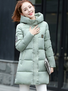 Ericdress Mid-Length Plain Hooded Down Coat