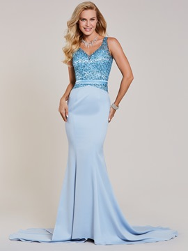 Ericdress V Neck Beaded Mermaid Evening Dress