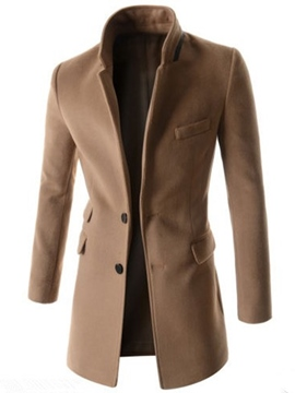 Ericdress Plain Warm Stand Collar Slim Men's Woolen Coat