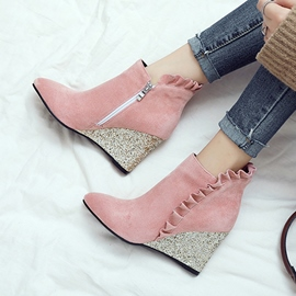 Ericdress Ruffles Plain Wedge Heel Ankle Boots