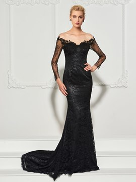 Ericdress Long Sleeve Scoop Neck Lace Mermaid Evening Dress