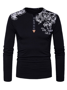 Ericdress Floral Print V-Neck Long Sleeve Casual Men's T-Shirt