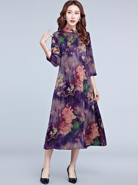 Ericdress Stand Collar Floral Print Mid-Calf Casual Dress
