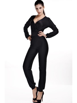 Ericdress Ankle Length V-Neck Women's Jumpsuit