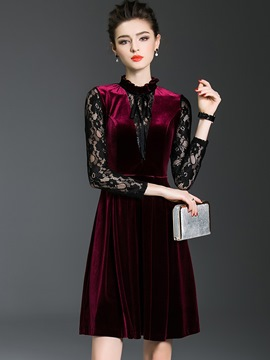Ericdress Lace Hollow Stand Collar A Line Dress