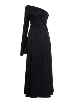 Ericdress Asymmetric Oblique Collar Flare Sleeve Maxi Dress