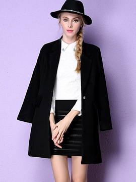 Ericdress Mid-Length Plain One Button Coat