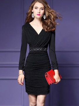 Ericdress V-Neck Lurex Bead Pleated Bodycon Dress