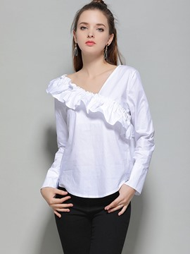 Ericdress V-Neck Plain Falbala Blouse