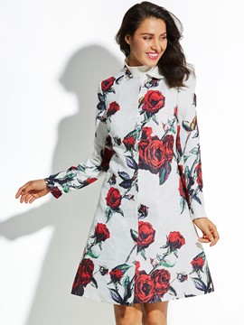 Ercdress Rose Printed Lapel Vacation Coat