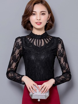 Ericdress Mesh Slim Lace Blouse