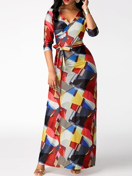 Ericdress Lace-Up Geometrical Print Ankle-Length Maxi Dress