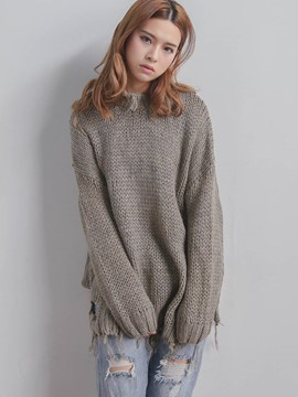 Ericdress Loose Solid Color Mid-Length Knitwear