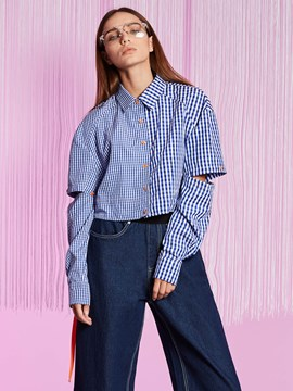 Ericdress Polo Neck Plaid Short Hollow Blouse
