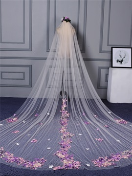 Ericdress Flowers Appliques Tulle Color Wedding Veil