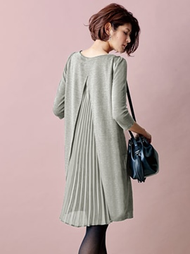 Ericdress Back Pleated Patchwork Split Loose Casual Dress