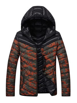 Ericdress Hooded Camouflage Print Men's Winter Coat