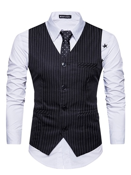 ericdress vogue bretelle v-neck stripe slim veste homme
