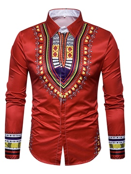 Ericdress Dashiki Style African Print Slim Cotton Men's Shirt