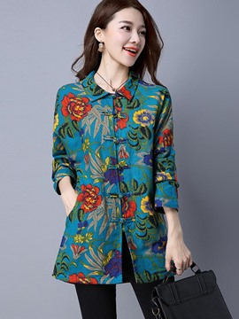 Ericdress Mid-Length Floral Print Trench Coat