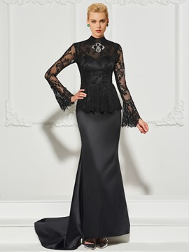 d829b6ae2583 Ericdress Long Sleeve High Neck Beaded Lace Mermaid Evening Dress