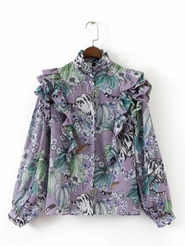 ericdress floral ruffles print bluse