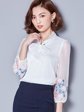 Ericdress See-Through Embroidery Bowknot Blouse