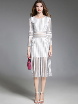 Ericdress Hollow Stripe Long Sleeve Fall Bodycon Dress