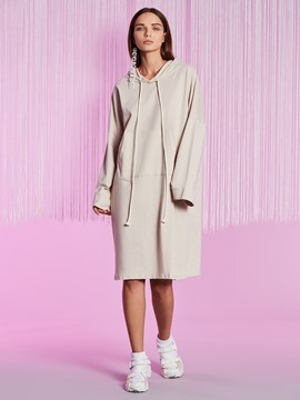 Ericdress Loose Drawstring Kangaroo Pocket Long Hoodie