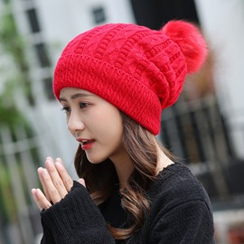 Ericdress Solid Color Knitting Wool Thicken Hat for Autumn&Winter