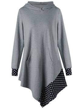 Ericdress Asymmetric Worn Polka Dot Cool Hoodie