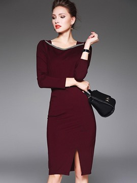 Ericdress Slash Neck Long Sleeve Pencil Bodycon Dress