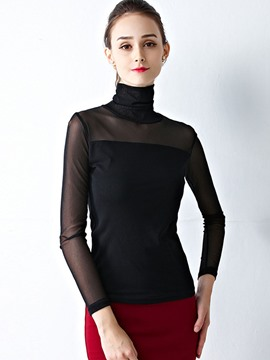 Ericdress Mesh Turtleneck Plain Blouse