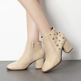Ericdress Rivet Plain Round Toe High Heel Ankle Boots