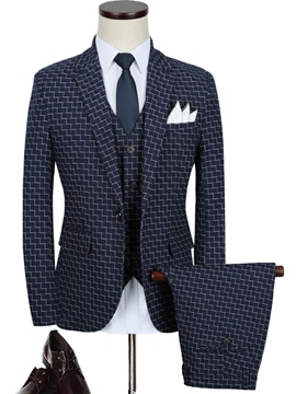 Ericdress Business Plaid Notched Lapel Three-Piece Vogue Men's Suit
