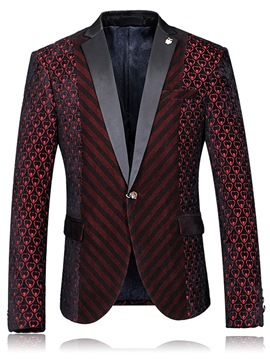 Ericdress Plaid Notched Lapel One Button Vogue Slim Men's Blazer
