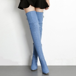 Ericdress Fashion Denim Zipper Plain Knee High Boots