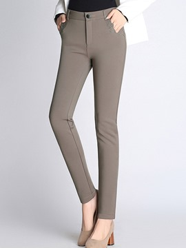 Ericdress Slim High-Waist Plain Women's Elegant Pants