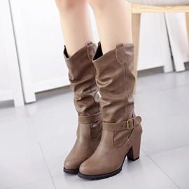 Ericdress Buckle Slip-On Plain Knee High Boots