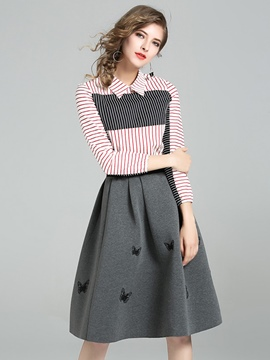 Ericdress A-Line Embroidery Knee-Length Skirt and Long Sleeve Stripe Shirt Women's Skirt Suit