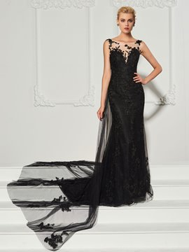 Ericdress Sheath Bateau Neck Applique Long Evening Dress With Train