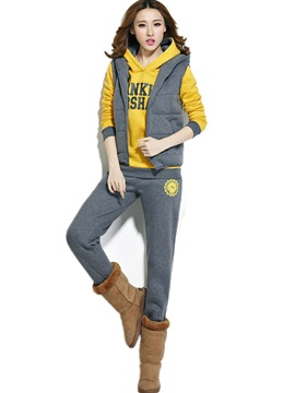 Ericdress Thick Hooded Vest Letter Hoodie and Pants Women's Winter 3-Piece Set