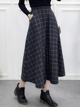 Ericdress High-Waist A-Line Thick Women's Plaid Skirt
