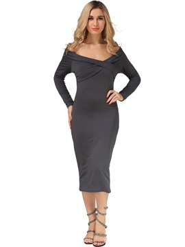 Ericdress Long Sleeve Mid-Calf Fall Sheath Dress