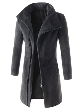 Ericdress Plain Mid-Length Slim Vogue Men's Woolen Coat